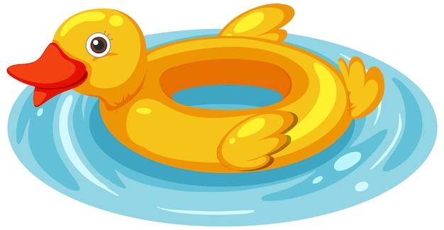 Anillo de natación de pato en el agua aislado