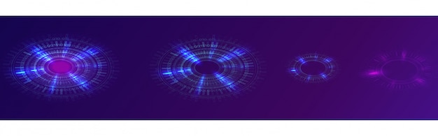 Anillo de neón azul brillante, círculo digital futurista