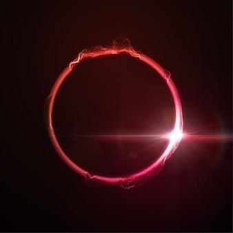 Anillo de neón rojo brillante abstracto distorsionado o forma de círculo con efecto de luz de destello de lente. concepto de tecnología
