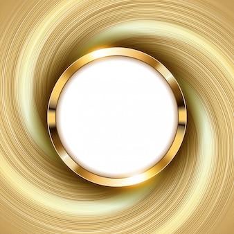 Anillo de oro metálico con espacio de texto y luz de remolino
