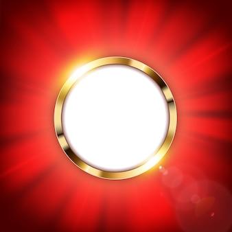 Anillo de oro metálico con espacio de texto y luz roja iluminada