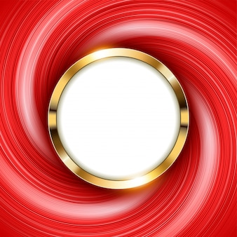 Anillo de oro metálico con espacio de texto y luz roja de remolino