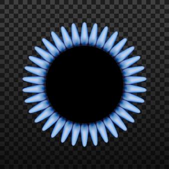 Anillo quemador de gas con llama azul