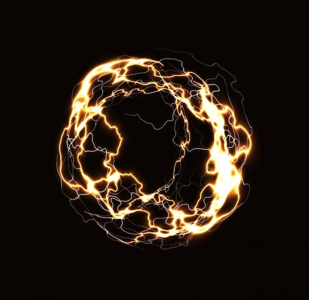Anillo de rayos realista, bola de energía, esfera mágica, plasma dorado sobre fondo oscuro. ilustración aislada