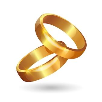 Anillos de boda dorados realistas con sombra