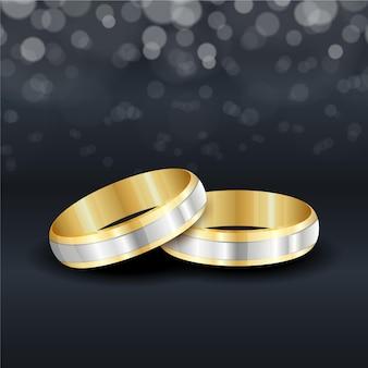 Anillos de boda dorados realistas