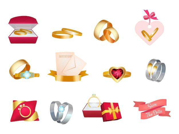 Anillos de boda. icono de invitación de ramo de matrimonio pastel y traje de novia amor símbolos de boda