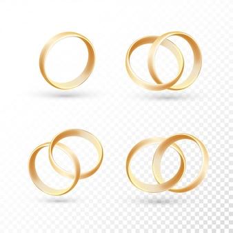 Los anillos de boda de oro.