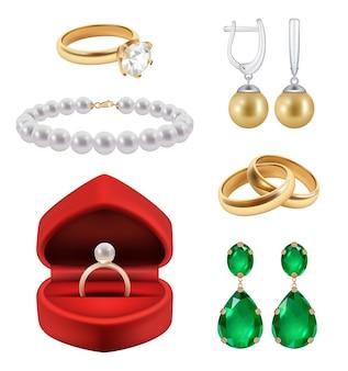 Anillos de boda realistas. joyas de oro en anillo de paquete de regalo con piedras de diamantes engastados.