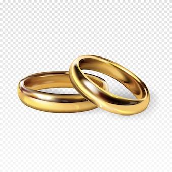 Anillos de bodas de oro 3d ilustración realista para el compromiso