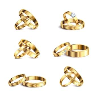 Anillos de bodas de oro pareja serie 6 conjuntos aislados realistas joyas de metal noble contra la ilustración de fondo blanco