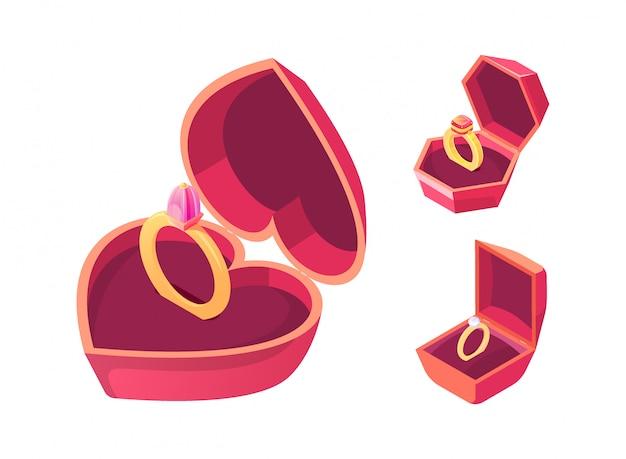 Anillos de compromiso en vector isométrico de cajas rojas