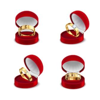Anillos de oro de compromiso de boda en caja de joyería roja abierta 4 conjuntos realistas ilustración de fondo blanco
