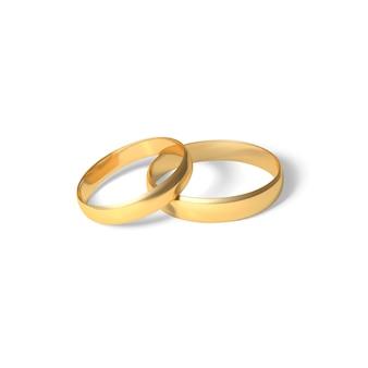 Anillos de oro par de anillos de bodas de oro. ilustración realista 3d aislada sobre fondo blanco
