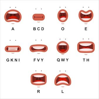 Animación de boca con ojos lindos. labios planos de dibujos animados hablan de carácter de expresión aislado en un fondo blanco.