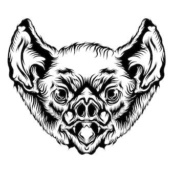 Animación de la cabeza de murciélago con contorno negro para las ideas del tatuaje.