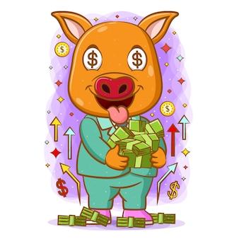 La animación del cerdo amarillo abraza mucho dinero en sus manos con la cara feliz