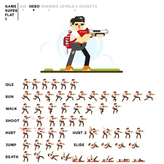 Animación de un chico con una escopeta para crear un videojuego.