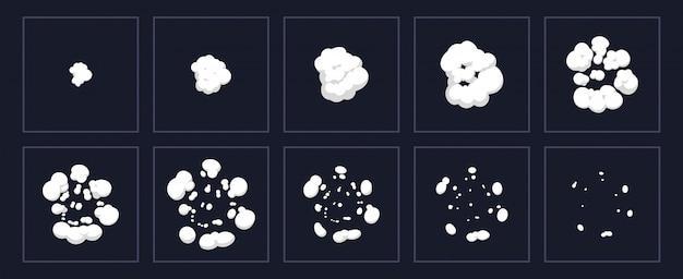 Animación de explosión de humo. explosión de dibujos animados disparo animado, explotar nubes marcos. conjunto de ilustración de storyboard de efecto de explosión. movimiento efecto de soplo, flash motion boom