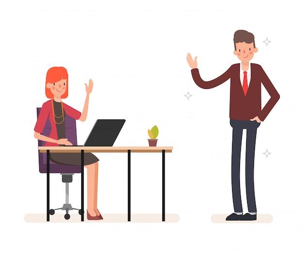 Animación gente de negocios colega carácter trabajo en equipo.