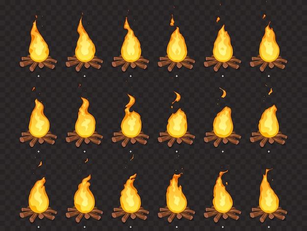 Animación de hoguera ardiente. fuego caliente, fogata al aire libre y hogueras dibujos animados marcos de sprites aislados