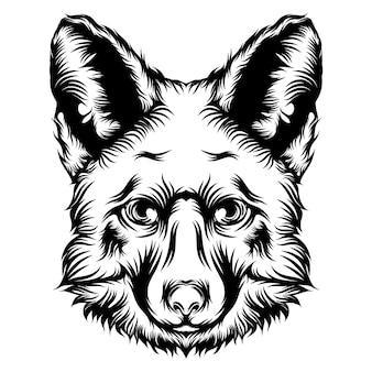 La animación de una ilustración de tatuaje de perro con contorno negro.