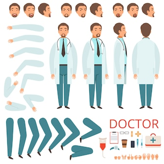 Animación del médico masculino, personal del hospital, partes del cuerpo, piernas, brazos, ropa, cuidado de la salud