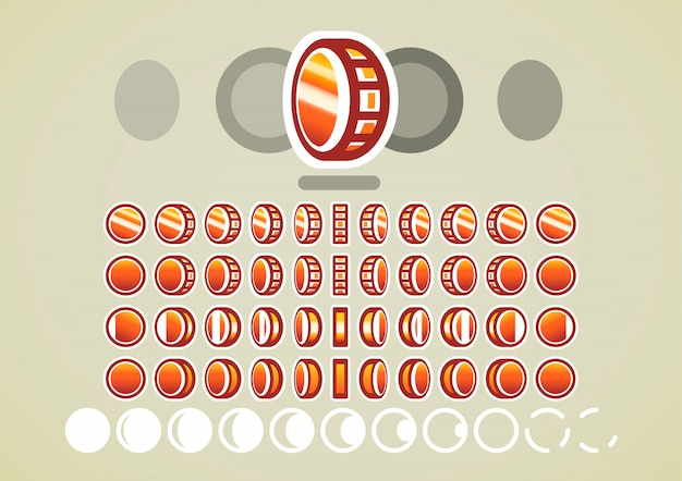 Animación de monedas de bronce para videojuegos.