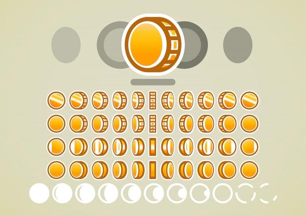 Animación de monedas de oro para videojuegos.