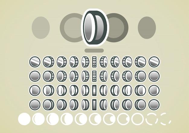 Animación de monedas de plata para videojuegos.