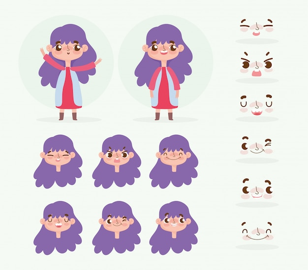 Animación de personaje de dibujos animados niña con cabello púrpura y emociones de la cara