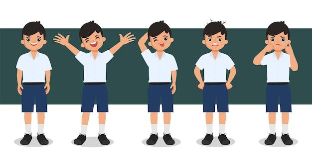 Animación de personajes de estudiantes de bangkok, tailandia.