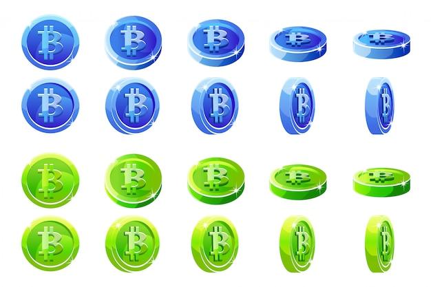 Animación rotación monedas bitcoin azules y verdes. monedas digitales o virtuales y efectivo electrónico.