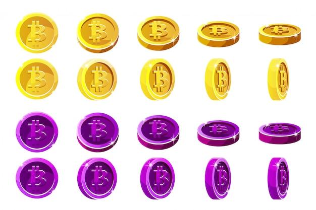 Animación rotación monedas bitcoin naranja y violeta. monedas digitales o virtuales y efectivo electrónico.