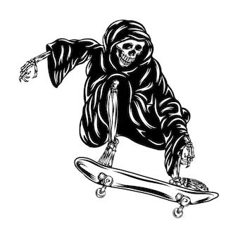 La animación del tatuaje del sombrío usando la capucha y jugando al monopatín
