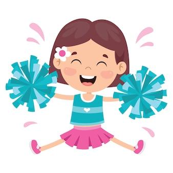 Animadora divertida con coloridos pompones