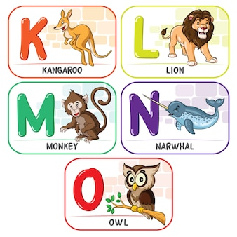 Animal alphabet klmno
