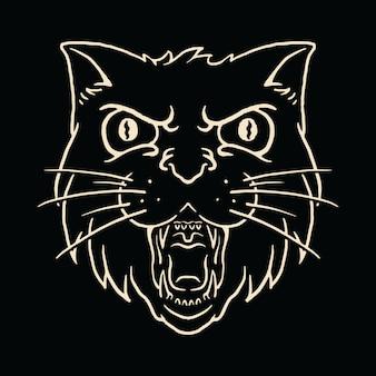 Animal cat ilustración enojada