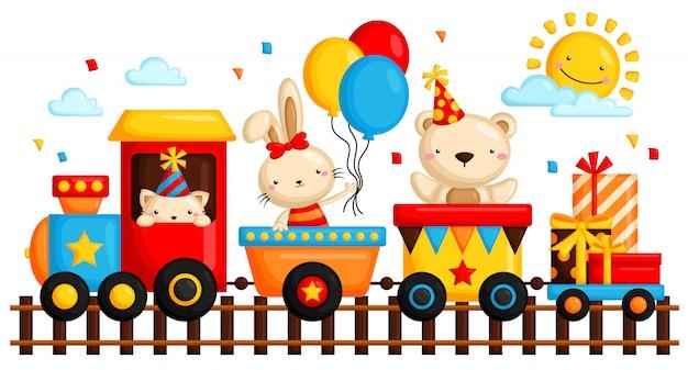 Animal en cumpleaños tren