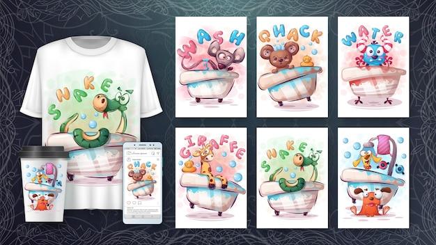 Animal de dibujos animados en cartel de baño y merchandising.