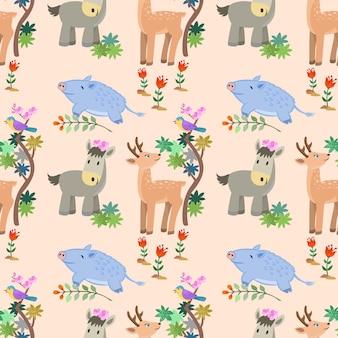 Animal en diseño de vector de patrones sin fisuras de bosque