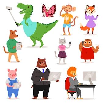 Animal gadget animalista personaje de dibujos animados oso gato o perro con teléfono o cámara para selfie foto ilustración