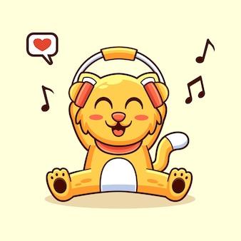 Animal gato como escuchar música, ilustración de diseño de personaje de mascota linda divertida