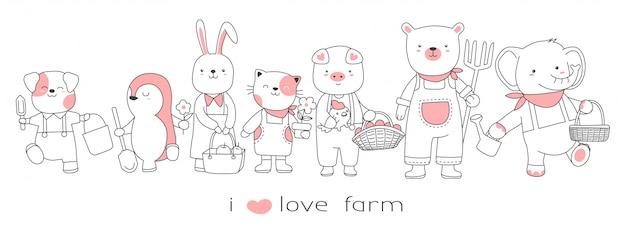 Animal lindo bebé con el estilo de dibujado a mano de dibujos animados de granja