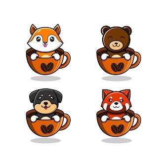 Animal lindo en dibujos animados de taza de café, ilustración de estilo de dibujos animados plana