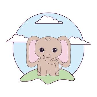 Animal lindo elefante en paisaje
