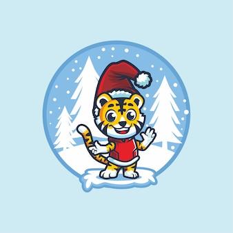 Animal lindo con gorro de papá noel en el diseño de mascota de dibujos animados de invierno