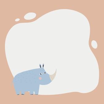 Animal lindo un marco de mancha en estilo simple dibujado a mano de dibujos animados. plantilla para su texto o foto. ideal para tarjetas, invitaciones, fiesta, jardín de infantes, preescolar y niños.