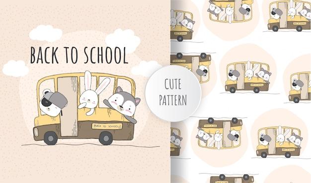 Animal lindo de patrones sin fisuras planas en el autobús escolar