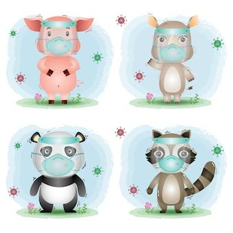 Animal lindo con protector facial y máscara: cerdo, rinoceronte, panda y mapache